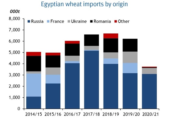 Egyptian wheat imports by origin