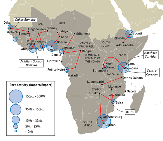 Overview map of logistical corridors in sub-Saharan Africa