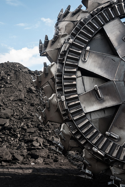 Coal machinery on a stockpile